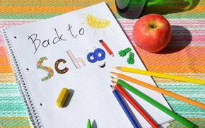 Picture figure, Apple, pencils, school, notebook