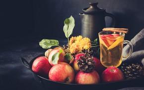 Picture lemon, tea, apples, drink, cinnamon, Apple