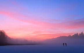 Picture cold, winter, forest, landscape, nature, fog, lake, pond, river, blue, people, pink, dawn, blue, sport, …
