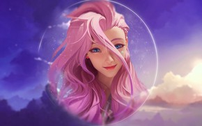 Picture girl, sky, pink, anime, clouds, lol, league of Legends, seraphine