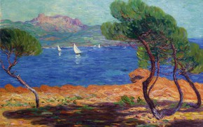 Picture boat, picture, Bay, sail, Leon Detroy, Landscape in Agay