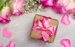 Picture birthday, gift, bouquet, congratulations, roses