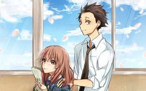 Picture window, girl, class, guy, school, notebook, Form voice, You No Katachi