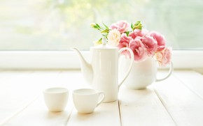Picture flowers, bouquet, set, coffee