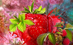 Picture flowers, strawberry, list