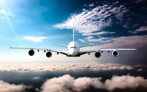 Wallpaper the sky, the sun, clouds, height, horizon, flight, the plane, passenger, airliner