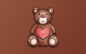 Picture minimalism, heart, Valentine's Day, digital art, teddy bear, artwork, simple background