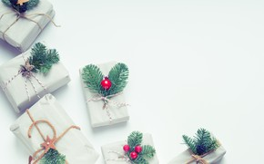 Picture winter, holiday, toys, Christmas, New year, light background, Christmas decorations, boxes, новогодние декорации