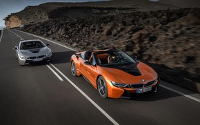 Picture movement, coupe, BMW, Roadster, 2018, i8, i8 Roadster, i8 Coupe