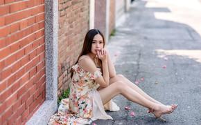 Picture Asian, charm, asian, charm, slender legs, slender legs, young beauty, young beauty, сидит на асфальте, …
