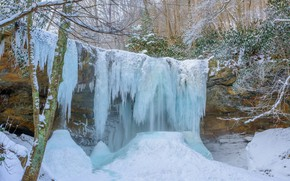 Wallpaper waterfall, ice, frost