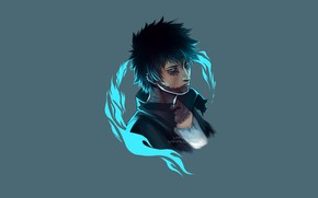Picture look, guy, green background, My Hero Academia, Boku No Hero Academy, My Hero Academy, Dhabi