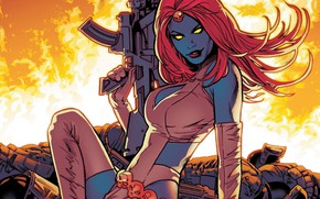 Picture fire, girl, fantasy, Mystic, weapon, Marvel, comics, redhead, rifle, artwork, superhero, fantasy art, yellow eyes, …