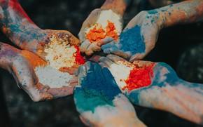 Picture paint, hands, powder, Holi
