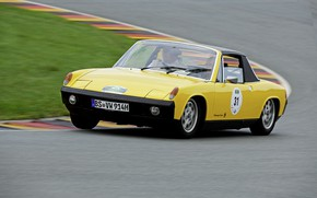 Picture yellow, Porsche, Volkswagen, track, 1974, Targa, 914, VW-Porsche, coupe-Roadster, 914/4