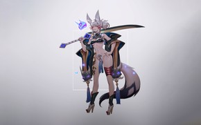 Picture Girl, Fantasy, Art, Style, Background, Illustration, Minimalism, Sword, Mai, Tail, Character, Furry, Zeronis, Mai - …