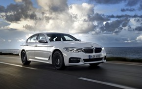 Picture road, white, the sky, asphalt, BMW, sedan, 540i, 5, four-door, 2017, 5-series, G30