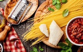 Picture cheese, spaghetti, sauce, Parmesan, Bolognese, grater