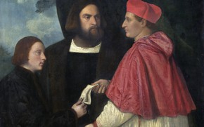 Picture Titian and his apprentices, Girolamo and cardinal Marco, 1520 approx.