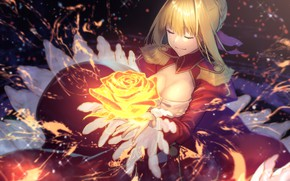 Picture girl, magic, rose, the saber, Fate / Grand Order, The destiny of a great campaign