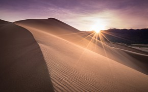 Picture sand, the sky, the sun, rays, light, line, the dunes, desert, the slopes, dunes, Colorado, …