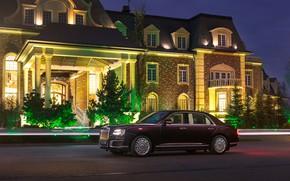 Picture road, lights, the evening, mansion, S600, Aurus, Senate