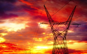 Picture Power lines, The SKY, CLOUDS, WIRE, SUNSET, DAWN, ELECTRICITY, POST, LINE, ОПОРА