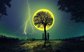 Picture night, tree, the moon, romance, silhouettes