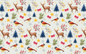 Picture holiday, deer, New Year, Christmas, bullfinch
