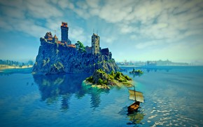 Picture Lake, Boat, Rock, The Witcher 3 Wild Hunt