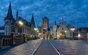 Picture road, night, the city, area, Belgium, Ghent