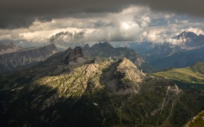Picture clouds, mountains, Italy, Dolomites