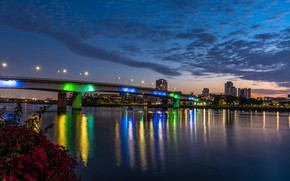 Picture the sky, clouds, bridge, lights, river, home, the evening, lights, CA, USA, promenade, Long Beach