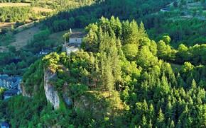 Picture the city, France, mountain, temple, Meyrueis, Le Rocher de Meyrueis, Notre Dame du Rocher