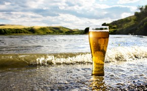 Picture sea, water, the sun, landscape, glass, shore, beer, bokeh