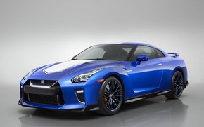 Picture Blue, The front, Japanese, 50th Anniversary Edition, White stripes, 2020 Nissan GT-R