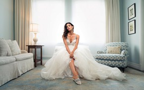 Picture look, girl, pose, room, model, dress, brunette, beautiful, Olga Safari