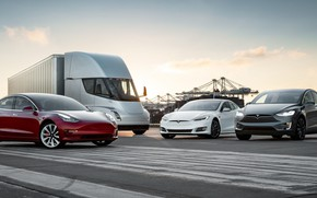 Picture Tesla, Model S, Model X, Model 3, Electric Car, Semi, Tesla Family