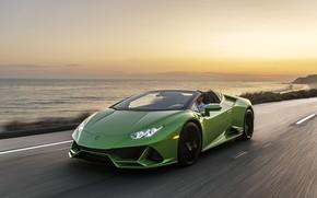 Picture sunset, coast, speed, the evening, Lamborghini, Spyder, Evo, Huracan, 2019, Huracan Evo, North America version
