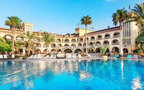 Picture palm trees, pool, the hotel, Cyprus, Lapithos, The Chateau Lambousa