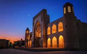 Picture lights, the evening, gate, area, Uzbekistan, Bukhara