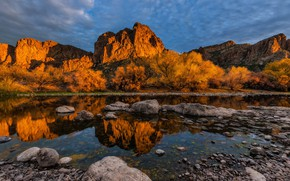 Picture the sky, clouds, mountains, nature, reflection, river, stones, dawn, AZ, USA, Goldfield Mountains