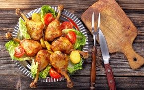 Picture chicken, knife, Board, legs, vegetables, tomatoes, salad