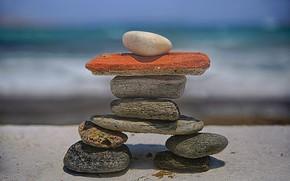 Wallpaper beach, stones, figure