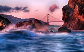 Picture wave, sunset, bridge, Strait, stones, the ocean, rocks, Golden Gate, USA, Golden Gate Bridge