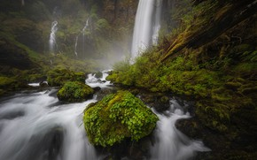 Picture water, stones, waterfall, moss
