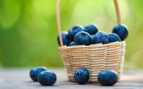 Picture green, berries, table, background, food, blueberries, basket, bokeh