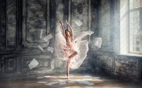 Picture girl, paper, wall, dance, barefoot, dress, window, blonde, leaves, barefoot, Anastasia Barmina, Anastasia Barmina