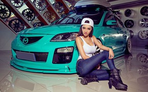 Picture auto, look, Girls, Mazda, beautiful girl, posing on the car, isiaka