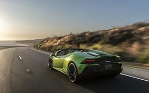 Picture sunset, coast, speed, Lamborghini, Spyder, Evo, Huracan, 2019, Huracan Evo, North America version